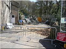 SD9927 : Nutclough Lane, Hebden Bridge, closed for repairs by Humphrey Bolton