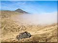 NM5532 : Boulder beside path below Torr na h-Uamha by Trevor Littlewood