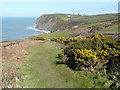 SN3759 : Looking north-northeast along the Wales Coast Path by John Baker