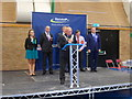 SZ1293 : Littledown: the Bournemouth West election result is declared by Chris Downer