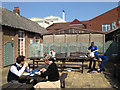 SP2865 : Café courtyard, Warwick Hospital by Robin Stott