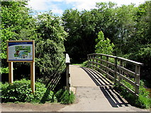 SU3521 : Wooden footbridge over the Barge Canal, Romsey by Jaggery