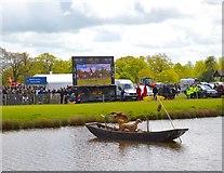 ST8083 : Badminton Horse Trials 2015: boat and big screen at the Lake by Jonathan Hutchins