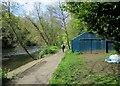 NZ2741 : Durham: a boathouse by the Wear by John Sutton