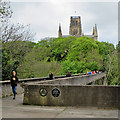 NZ2742 : Durham: Kingsgate Footbridge and a view of the Cathedral by John Sutton