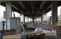 SH5470 : Railway line, Pont Britannia by N Chadwick