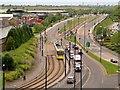 SJ9399 : Metrolink Tram on Lord Sheldon Way by David Dixon