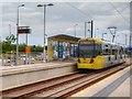 SJ9299 : Tram at Ashton West Metrolink Stop by David Dixon