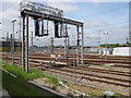 TQ2282 : Gantry in Old Oak Common Sidings by David Hawgood