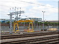 TQ2282 : Overhead crane in Old Oak Common Sidings by David Hawgood
