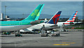 O1642 : Tail fins at Dublin Airport by Thomas Nugent