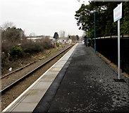 SN6212 : North along Ammanford railway station platform by Jaggery