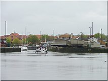 ST5772 : Junction Lock Bridge open for two boats by Christine Johnstone