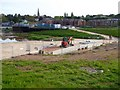 SX9291 : Building a cycle bridge in the flood relief channel, Exeter by David Smith