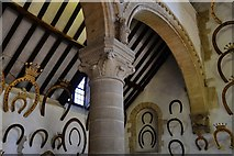 SK8608 : Oakham Castle: Carved capital in the Great Hall 2 by Michael Garlick