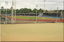 TQ3470 : View of the athletics track from the walkway into the National Sports Centre by Robert Lamb