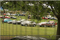 TQ3470 : View of classic cars at the National Sports Centre by Robert Lamb