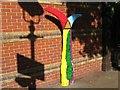 SP0786 : Rainbow coloured milepost, Hurst Street, Birmingham by Martin Richard Phelan