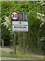 TM1080 : Roydon Village Name sign by Adrian Cable