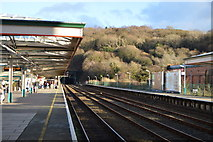 SH5771 : North Wales Coast Line, Bangor Station by N Chadwick