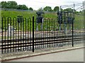 SP8438 : Safety Fence and Signals at Milton Keynes Central by David Dixon