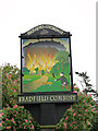 TL8957 : Bradfield Combust village sign (detail) by Adrian S Pye