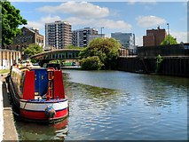 TQ3283 : Narrowboat Moored on the Regent's Canal by David Dixon