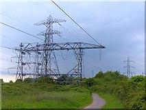 ST3283 : Pylons beside the Wales Coast Path by Robin Drayton
