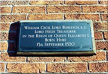 TF0920 : Plaque remembers William Cecil at Bourne, Lincolnshire by Rex Needle
