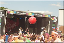 TQ1985 : View of a giant volleyball in the crowd at the Colour Run #2 by Robert Lamb