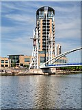SJ8097 : Manchester Ship Canal, Lowry Bridge and Imperial Court by David Dixon