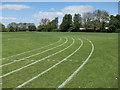 TL3844 : Grass athletics track, Melbourn Village College by Hugh Venables
