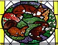 SU7433 : St.Mary's - Roundel 1 - Cat, Squirrel and Hare by Rob Farrow