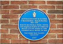 TF0920 : WW1 author's plaque at Bourne, Lincolnshire by Rex Needle