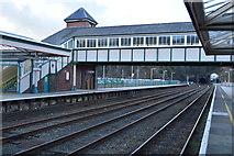 SH5771 : Footbridge, Bangor Station by N Chadwick