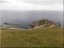 SY8080 : West Lulworth: Durdle Door and Man o' War Cove from the top path by Chris Downer