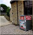 ST9897 : Rag Bag recycling bin, Kemble Village Hall by Jaggery