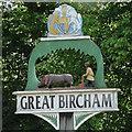 TF7632 : Great Bircham village sign (detail) by Adrian S Pye