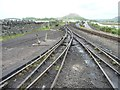 SH5837 : Tracks heading west out of Boston Lodge Works by Christine Johnstone