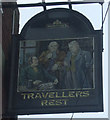 SJ9047 : Sign for the Travellers Rest by JThomas