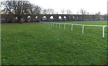 SO8455 : Worcester Racecourse fence and a railway viaduct by Jaggery