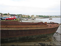 TQ7568 : Old Barge on River Medway by David Anstiss