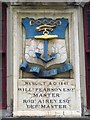 NZ2564 : Plaque above the entrance to Trinity House Yard, Broad Chare, NE1 by Mike Quinn