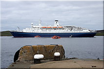 HU4741 : The cruise ship Marco Polo in Lerwick harbour, from the lifeboat pier by Mike Pennington