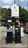 SJ8445 : Newcastle-under-Lyme: parking ticket machines old and new by Jonathan Hutchins