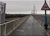 ST5491 : Crosswinds warning side, Wye Bridge near Chepstow by Jaggery