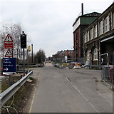 SU1484 : When red light shows wait here sign, Swindon by Jaggery