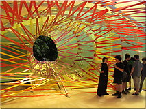 TQ2679 : Serpentine Gallery Pavilion 2015 - group by colourful aperture by David Hawgood