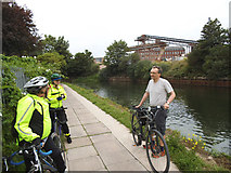TQ3783 : Towpath cyclists by Stephen Craven