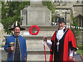 SP9211 : Tring's Mayor and Town Crier at the War Memorial on Charter Day by Chris Reynolds